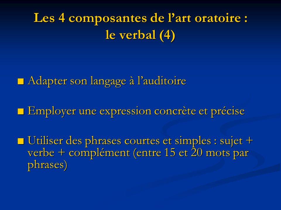 Les 4 composantes de lart oratoire : le verbal (4) Adapter son langage à lauditoire Adapter son langage à lauditoire Employer une expression concrète