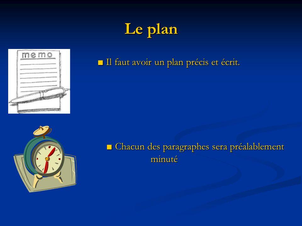 Le plan Il faut avoir un plan précis et écrit. Il faut avoir un plan précis et écrit. Chacun des paragraphes sera préalablement minuté Chacun des para