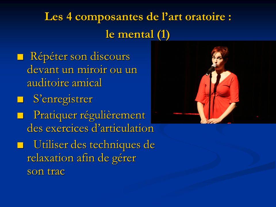 Les 4 composantes de lart oratoire : le mental (1) Répéter son discours devant un miroir ou un auditoire amical Répéter son discours devant un miroir