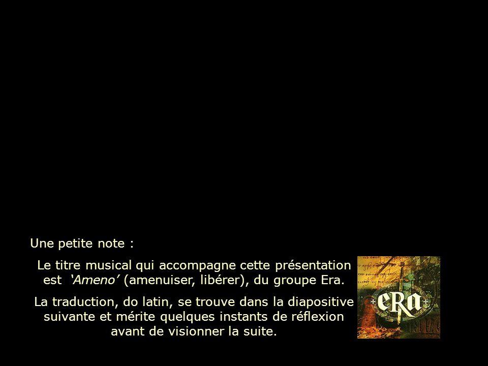 Une petite note : Le titre musical qui accompagne cette présentation est Ameno (amenuiser, libérer), du groupe Era.