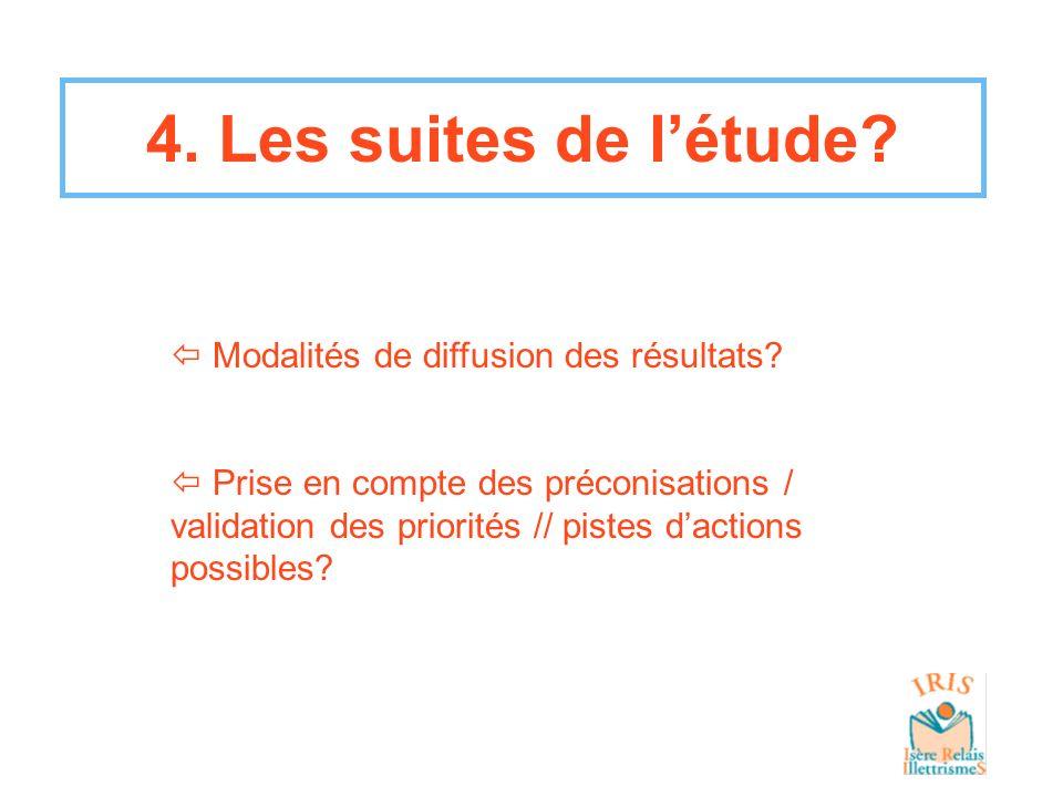4. Les suites de létude? Modalités de diffusion des résultats? Prise en compte des préconisations / validation des priorités // pistes dactions possib