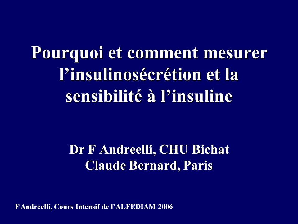 HOMA (homeostasis model assessment) -apprécie l insulinorésistance périphérique et le déficit insulinosécrétoire -bien corrélé avec le clamp d autant plus que l on a plusieurs valeurs pour le même sujet -nécessite des dosages radioimmunologiques de l insuline (sinon pb de la pro-insuline chez le diabétique) -au niveau individuel, apprécie l importance de l insulinorésistance par rapport au déficit insulinosécrétoire F Andreelli, Cours Intensif de lALFEDIAM 2006