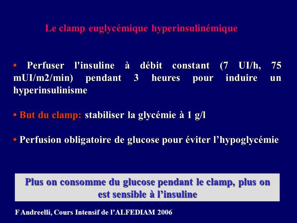 Insuline: 7 UI/h Sujet insulinosensible Glucose Sujet insulinorésistant Glucose X ml Y ml SI = X ml de glucose consommés / kg / min