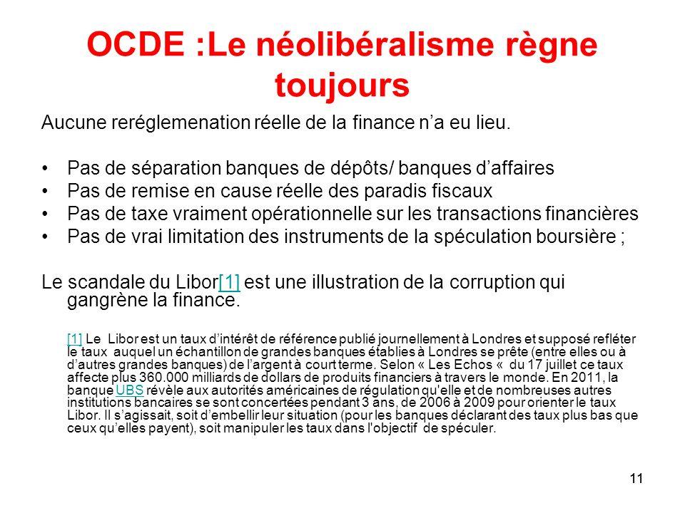 11 OCDE :Le néolibéralisme règne toujours Aucune reréglemenation réelle de la finance na eu lieu. Pas de séparation banques de dépôts/ banques daffair