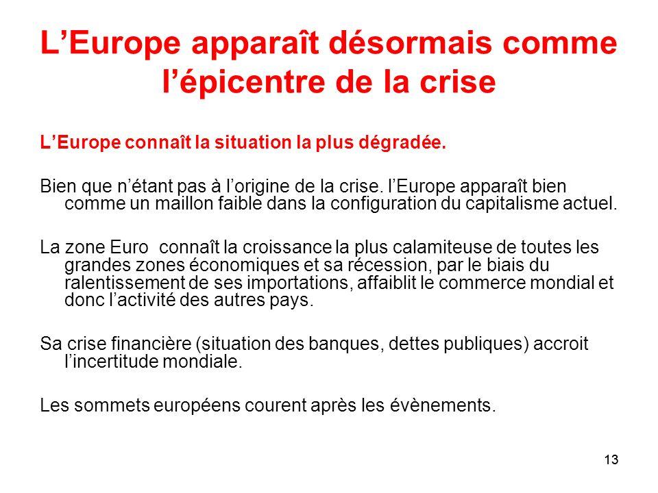 13 LEurope apparaît désormais comme lépicentre de la crise LEurope connaît la situation la plus dégradée. Bien que nétant pas à lorigine de la crise.