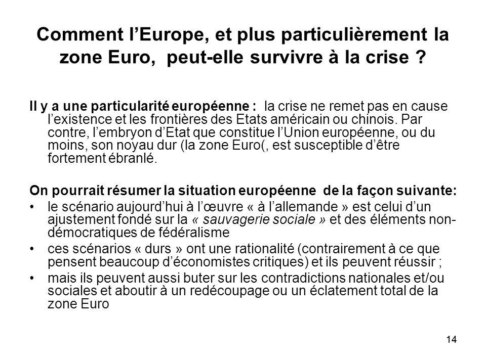 14 Comment lEurope, et plus particulièrement la zone Euro, peut-elle survivre à la crise ? Il y a une particularité européenne : la crise ne remet pas