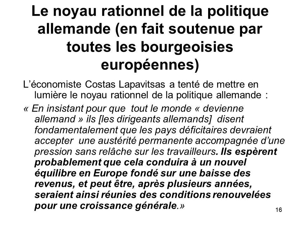 16 Le noyau rationnel de la politique allemande (en fait soutenue par toutes les bourgeoisies européennes) Léconomiste Costas Lapavitsas a tenté de me