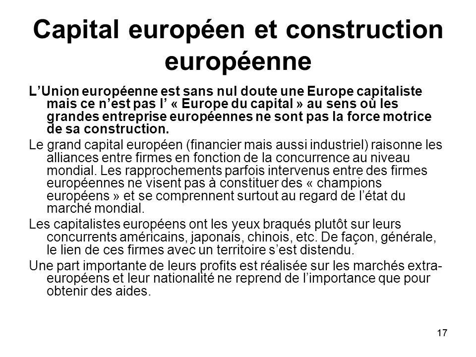 17 Capital européen et construction européenne LUnion européenne est sans nul doute une Europe capitaliste mais ce nest pas l « Europe du capital » au