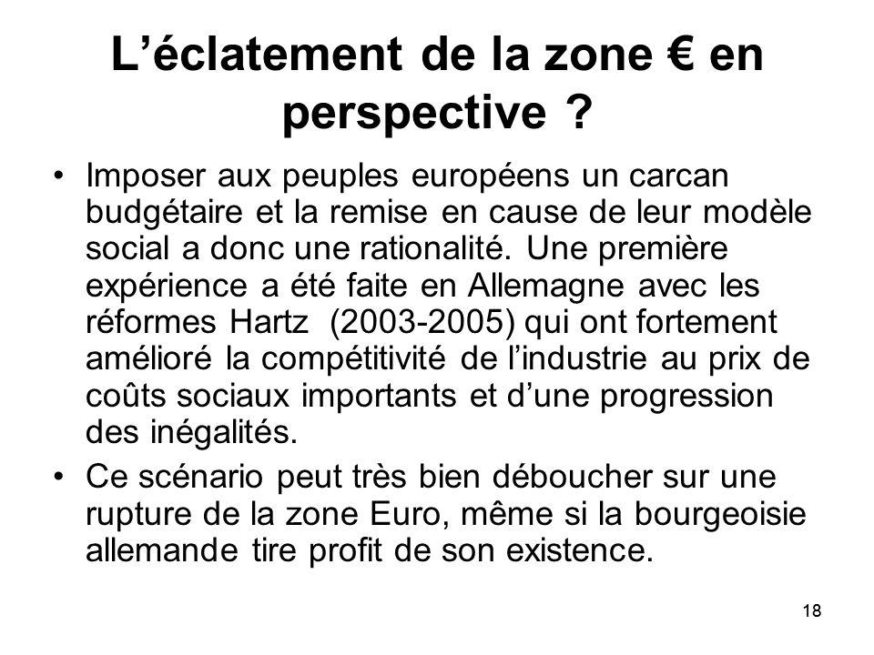 18 Léclatement de la zone en perspective ? Imposer aux peuples européens un carcan budgétaire et la remise en cause de leur modèle social a donc une r