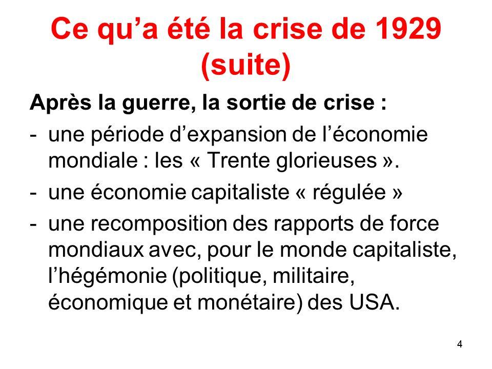 4 Ce qua été la crise de 1929 (suite) Après la guerre, la sortie de crise : -une période dexpansion de léconomie mondiale : les « Trente glorieuses ».