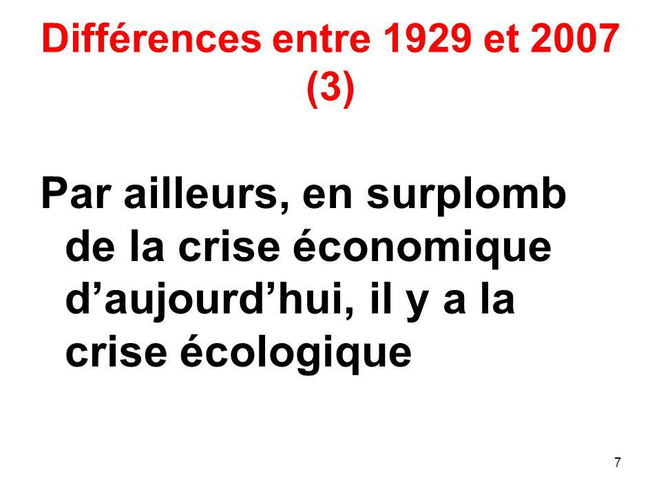 Différences entre 1929 et 2007 (3) Par ailleurs, en surplomb de la crise économique daujourdhui, il y a la crise écologique 7