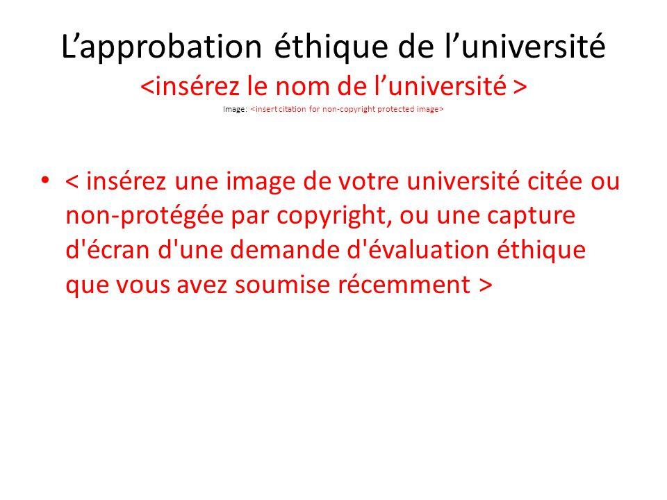 Lapprobation éthique de luniversité Image: