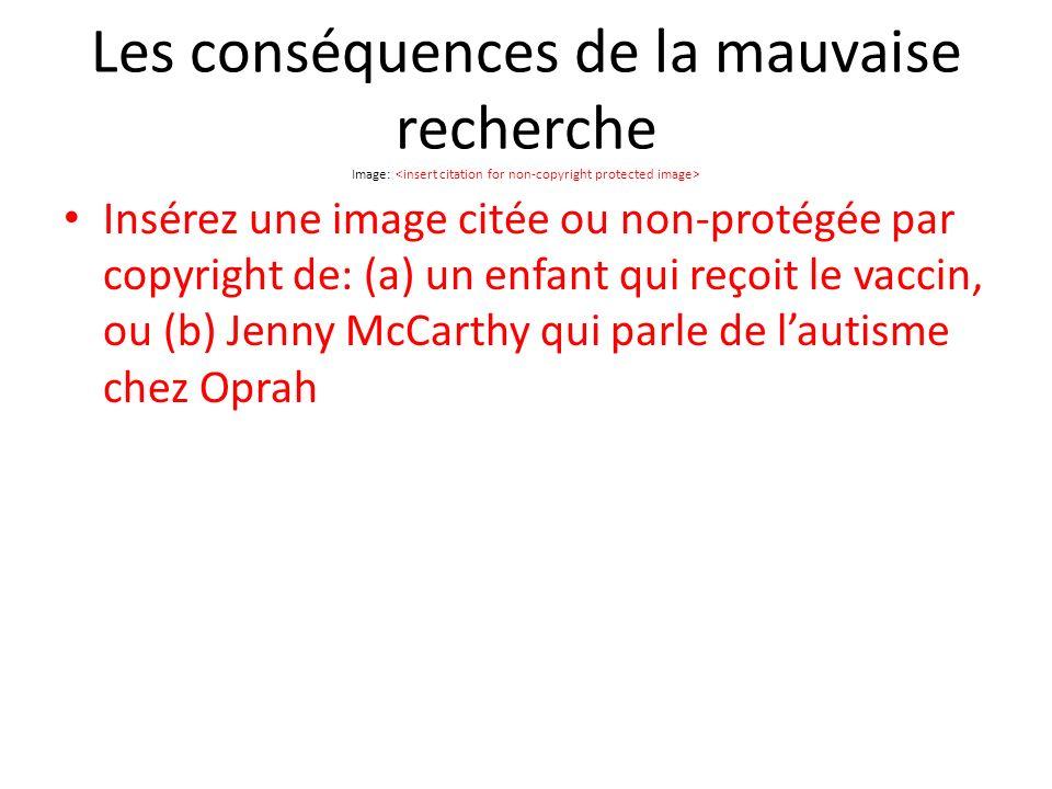 Les conséquences de la mauvaise recherche Image: Insérez une image citée ou non-protégée par copyright de: (a) un enfant qui reçoit le vaccin, ou (b) Jenny McCarthy qui parle de lautisme chez Oprah