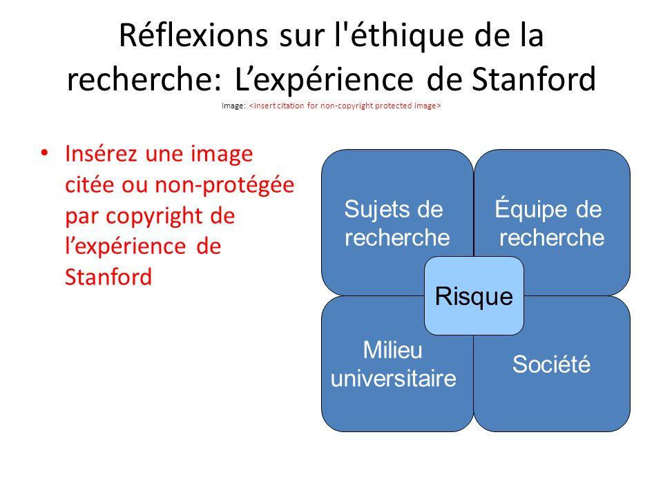 Réflexions sur l éthique de la recherche: Lexpérience de Stanford Image: Insérez une image citée ou non-protégée par copyright de lexpérience de Stanford Sujets de recherche Équipe de recherche Milieu universitaire Société Risque