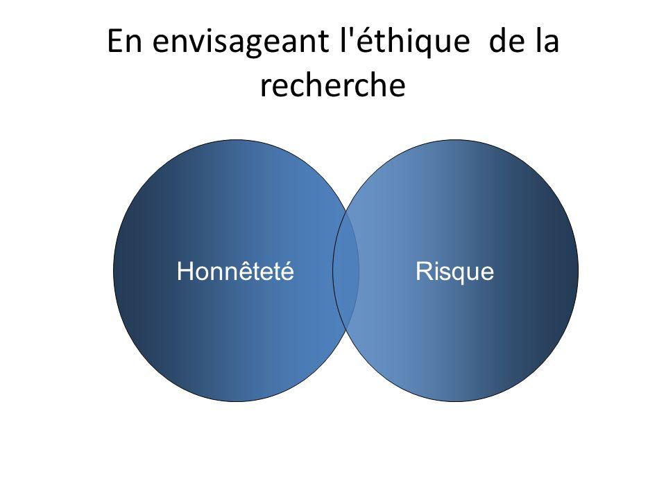 En envisageant l éthique de la recherche HonnêtetéRisque