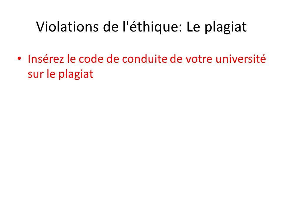 Violations de l éthique: Le plagiat Insérez le code de conduite de votre université sur le plagiat