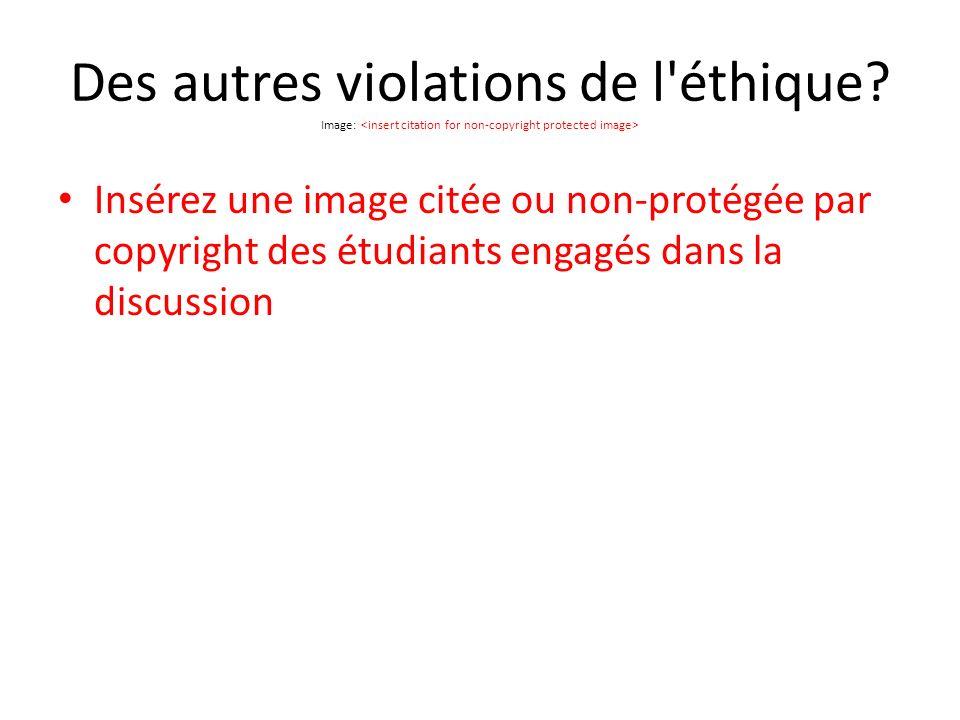 Des autres violations de l éthique.