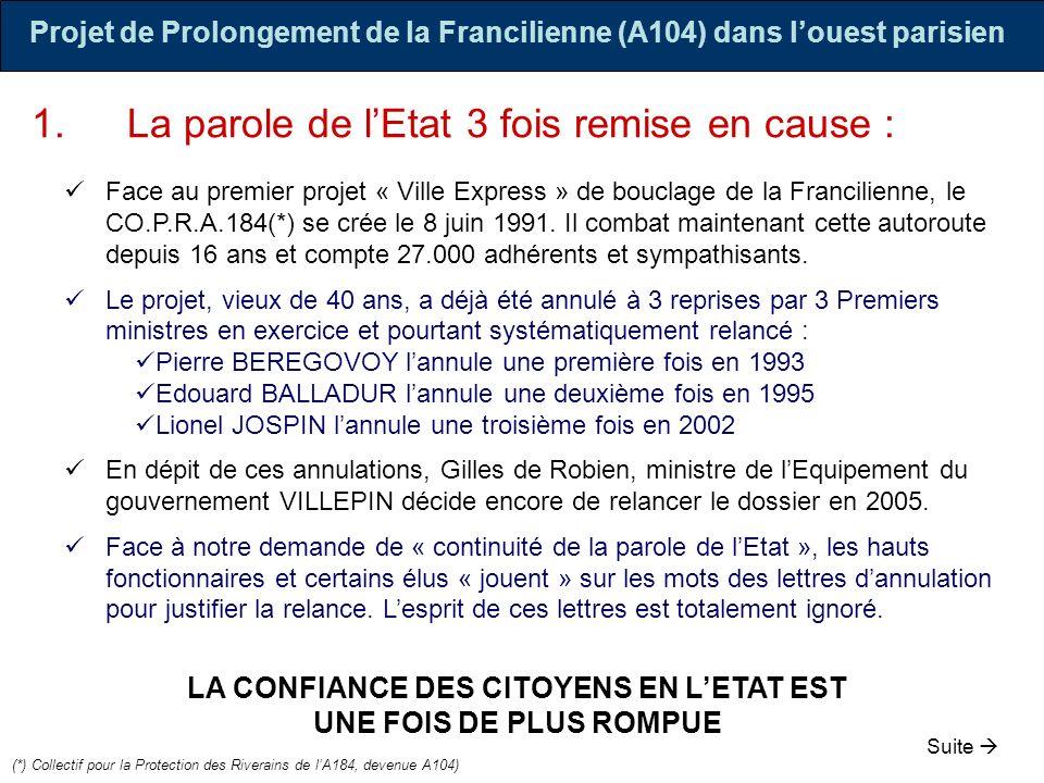 1.La parole de lEtat 3 fois remise en cause : Face au premier projet « Ville Express » de bouclage de la Francilienne, le CO.P.R.A.184(*) se crée le 8