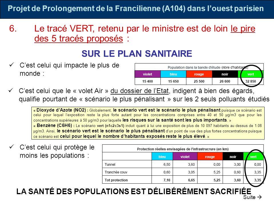 Projet de Prolongement de la Francilienne (A104) dans louest parisien 6.Le tracé VERT, retenu par le ministre est de loin le pire des 5 tracés proposé