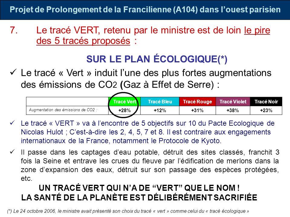 Projet de Prolongement de la Francilienne (A104) dans louest parisien Le tracé « Vert » induit lune des plus fortes augmentations des émissions de CO