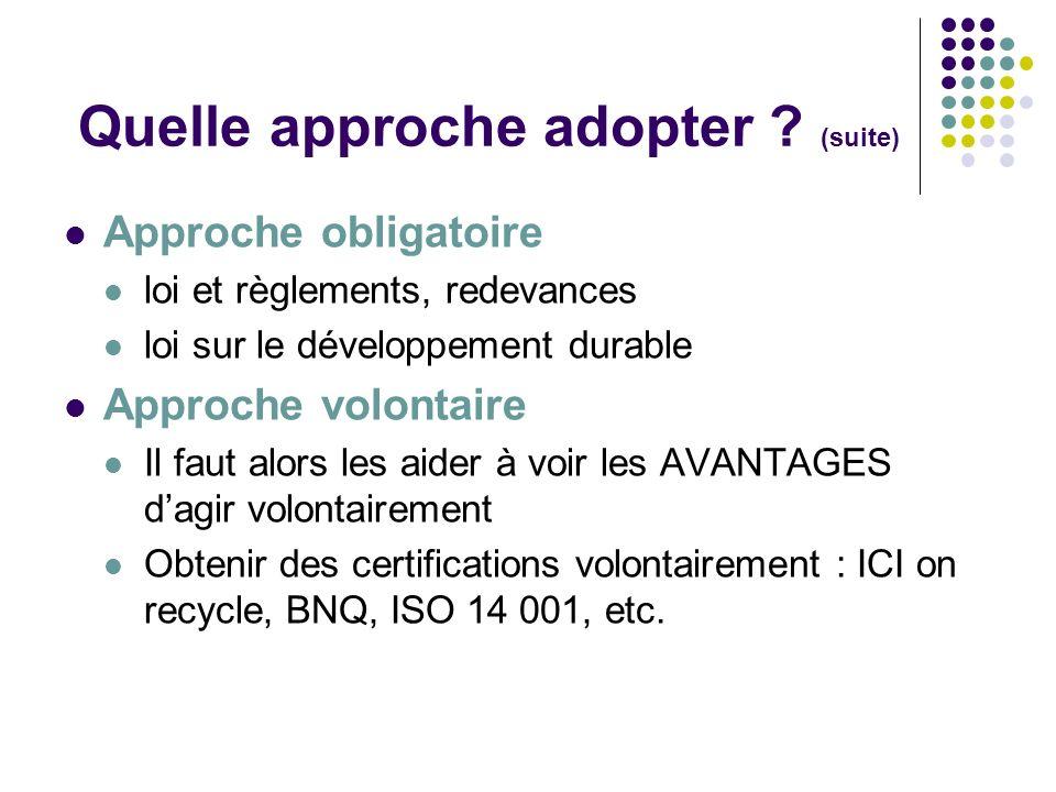 Quelle approche adopter ? (suite) Approche obligatoire loi et règlements, redevances loi sur le développement durable Approche volontaire Il faut alor