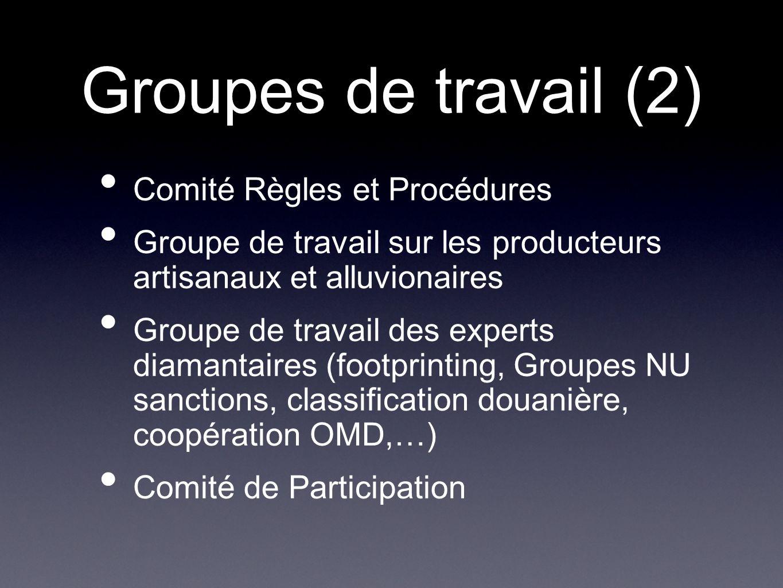 Groupes de travail (2) Comité Règles et Procédures Groupe de travail sur les producteurs artisanaux et alluvionaires Groupe de travail des experts dia