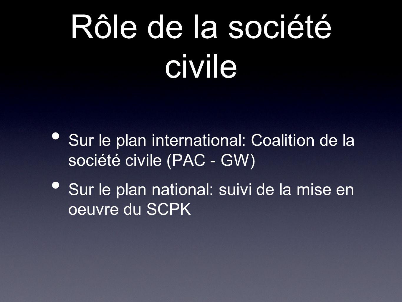 Rôle de la société civile Sur le plan international: Coalition de la société civile (PAC - GW) Sur le plan national: suivi de la mise en oeuvre du SCP