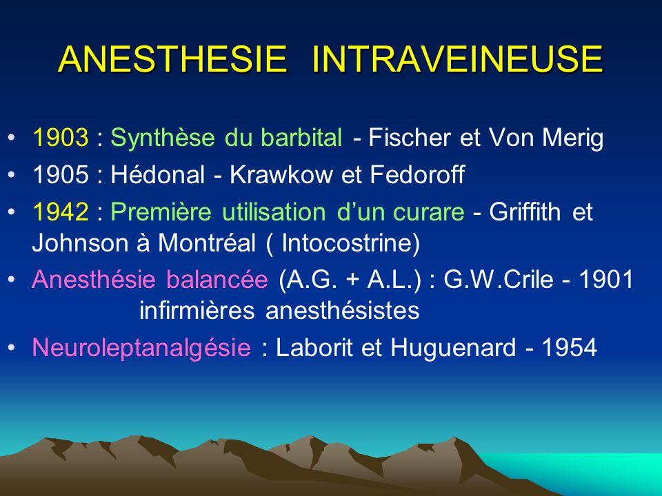 ANESTHESIE INTRAVEINEUSE 1903 : Synthèse du barbital - Fischer et Von Merig 1905 : Hédonal - Krawkow et Fedoroff 1942 : Première utilisation dun curar
