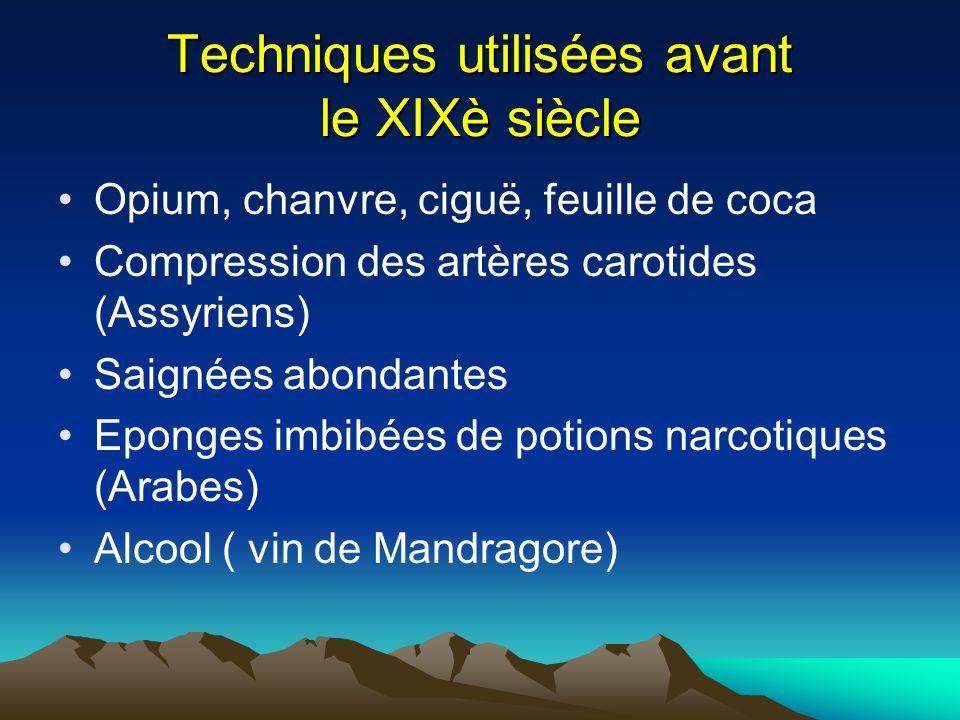 Techniques utilisées avant le XIXè siècle Opium, chanvre, ciguë, feuille de coca Compression des artères carotides (Assyriens) Saignées abondantes Epo