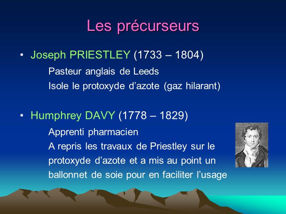 Les précurseurs Joseph PRIESTLEY (1733 – 1804) Pasteur anglais de Leeds Isole le protoxyde dazote (gaz hilarant) Humphrey DAVY (1778 – 1829) Apprenti