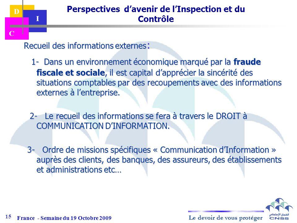 Le devoir de vous protéger D I C Recueil des informations externes : Recueil des informations externes : 1- Dans un environnement économique marqué pa