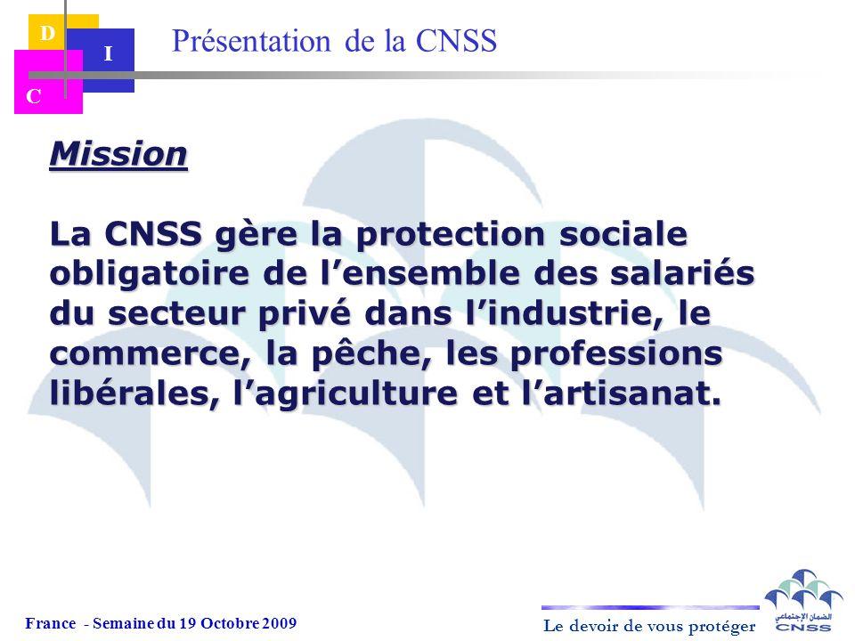 Le devoir de vous protéger D I C Mission La CNSS gère la protection sociale obligatoire de lensemble des salariés du secteur privé dans lindustrie, le