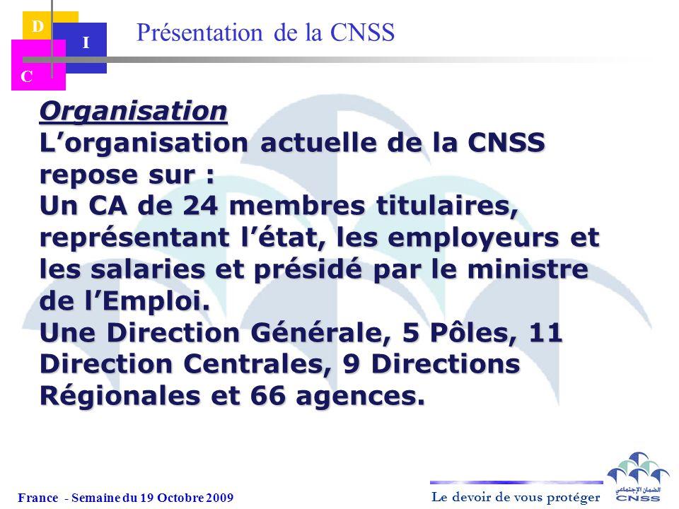 Le devoir de vous protéger D I C Organisation Lorganisation actuelle de la CNSS repose sur : Un CA de 24 membres titulaires, représentant létat, les e