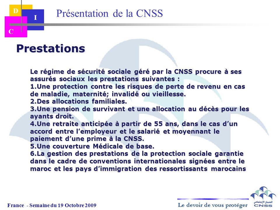 Le devoir de vous protéger D I C Prestations Le régime de sécurité sociale géré par la CNSS procure à ses assurés sociaux les prestations suivantes :