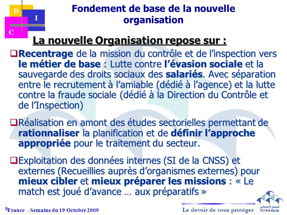 Le devoir de vous protéger D I C La nouvelle Organisation repose sur : La nouvelle Organisation repose sur : Recentrage de la mission du contrôle et d