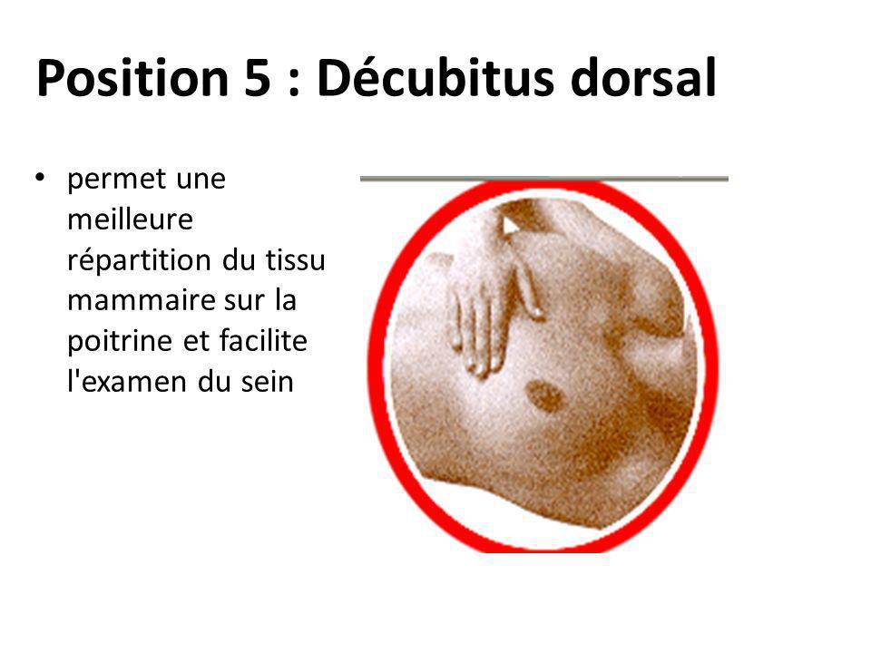 Position 5 : Décubitus dorsal permet une meilleure répartition du tissu mammaire sur la poitrine et facilite l'examen du sein