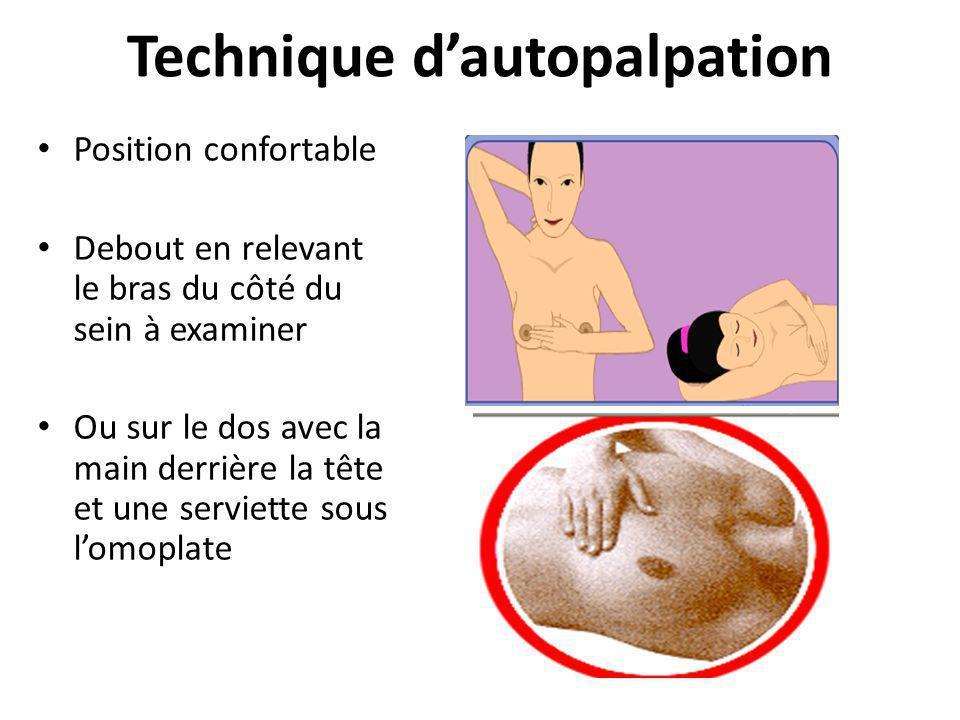 Technique dautopalpation Position confortable Debout en relevant le bras du côté du sein à examiner Ou sur le dos avec la main derrière la tête et une