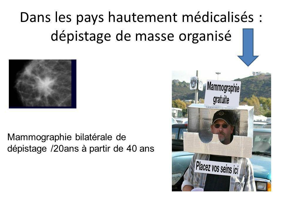 Dans les pays hautement médicalisés : dépistage de masse organisé Mammographie bilatérale de dépistage /20ans à partir de 40 ans