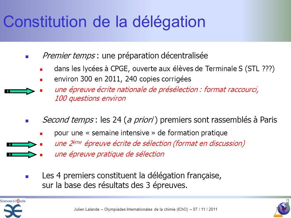 Julien Lalande – Olympiades Internationales de la chimie (IChO) – 07 / 11 / 2011 Constitution de la délégation Premier temps : une préparation décentr