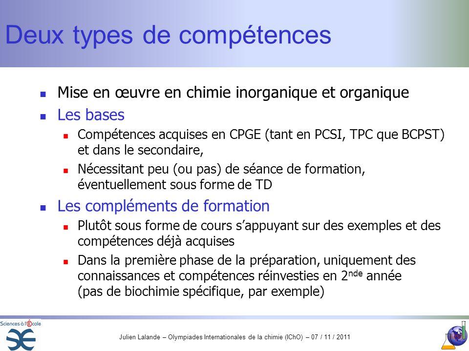Julien Lalande – Olympiades Internationales de la chimie (IChO) – 07 / 11 / 2011 Deux types de compétences Mise en œuvre en chimie inorganique et orga