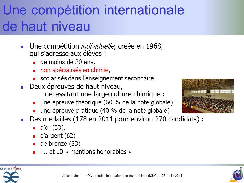 Julien Lalande – Olympiades Internationales de la chimie (IChO) – 07 / 11 / 2011 Une compétition internationale de haut niveau Une compétition individ