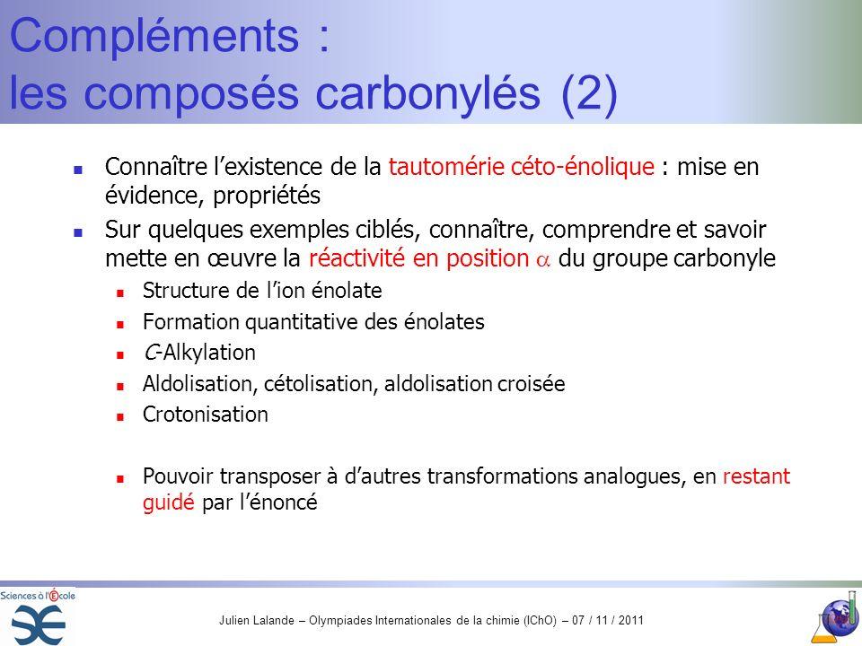 Julien Lalande – Olympiades Internationales de la chimie (IChO) – 07 / 11 / 2011 Compléments : les composés carbonylés (2) Connaître lexistence de la