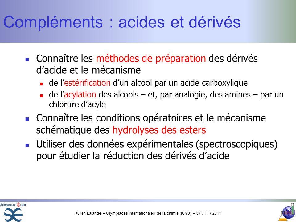 Julien Lalande – Olympiades Internationales de la chimie (IChO) – 07 / 11 / 2011 Compléments : acides et dérivés Connaître les méthodes de préparation