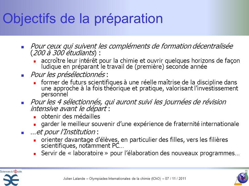 Julien Lalande – Olympiades Internationales de la chimie (IChO) – 07 / 11 / 2011 Objectifs de la préparation Pour ceux qui suivent les compléments de