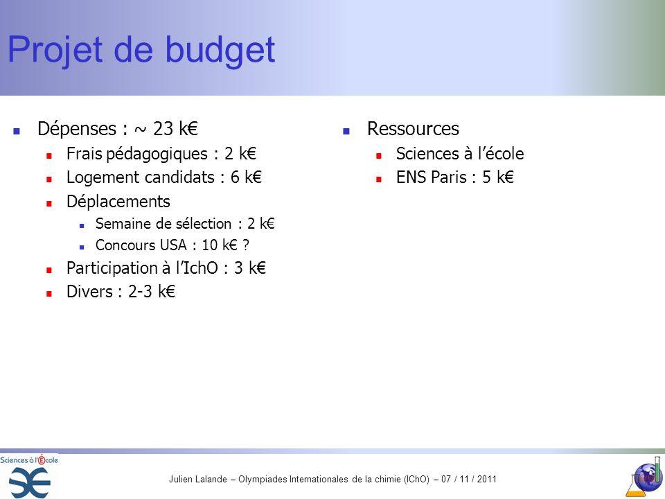 Julien Lalande – Olympiades Internationales de la chimie (IChO) – 07 / 11 / 2011 Projet de budget Dépenses : ~ 23 k Frais pédagogiques : 2 k Logement