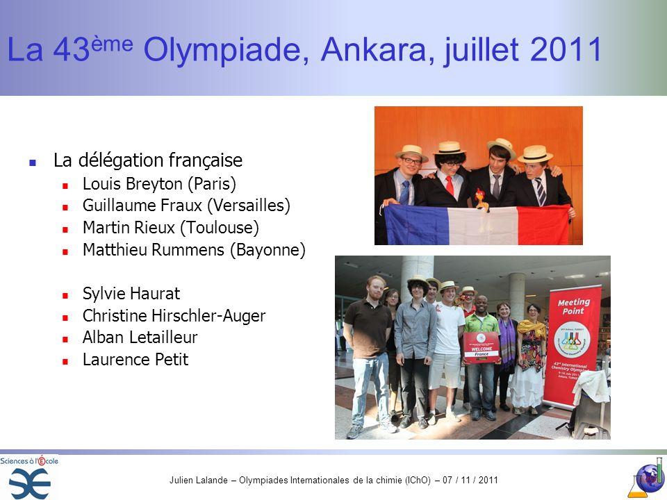 Julien Lalande – Olympiades Internationales de la chimie (IChO) – 07 / 11 / 2011 La 43 ème Olympiade, Ankara, juillet 2011 La délégation française Lou