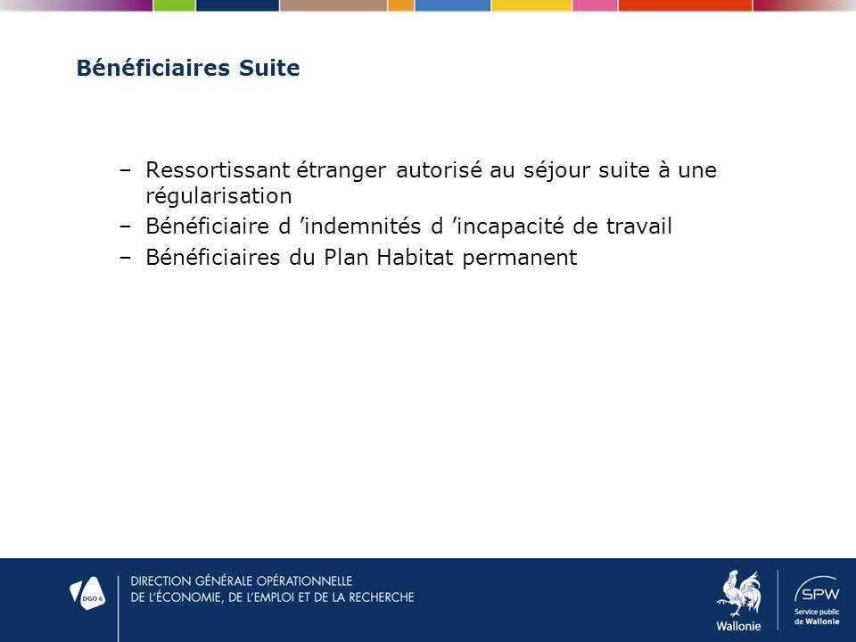 Bénéficiaires Suite –Ressortissant étranger autorisé au séjour suite à une régularisation –Bénéficiaire d indemnités d incapacité de travail –Bénéficiaires du Plan Habitat permanent