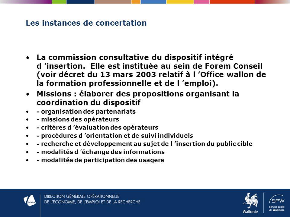 Les instances de concertation La commission consultative du dispositif intégré d insertion.