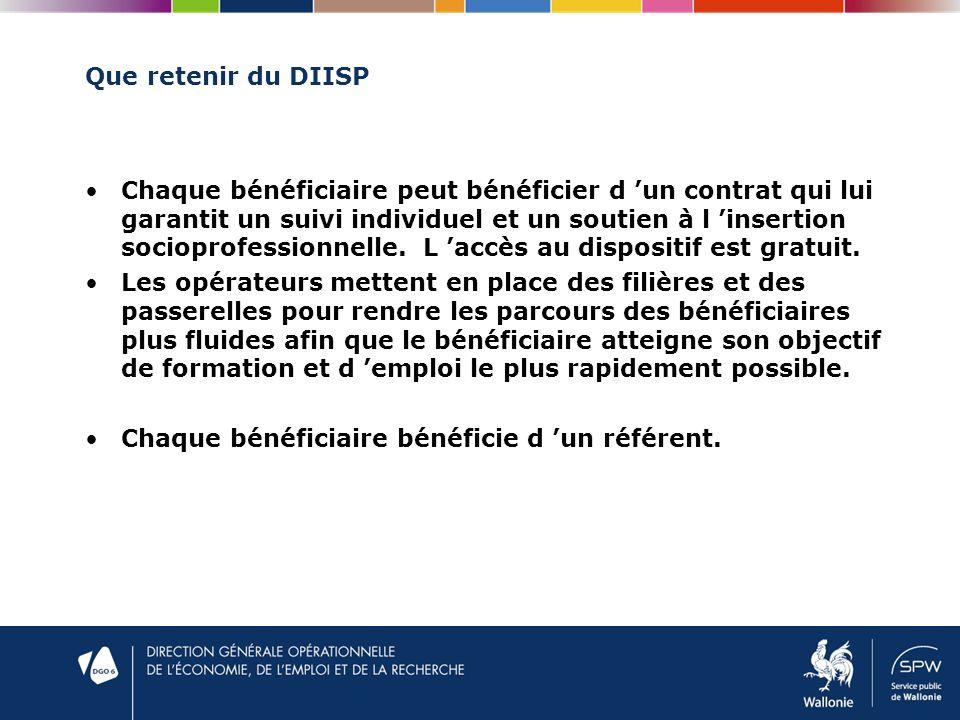 Que retenir du DIISP Chaque bénéficiaire peut bénéficier d un contrat qui lui garantit un suivi individuel et un soutien à l insertion socioprofessionnelle.