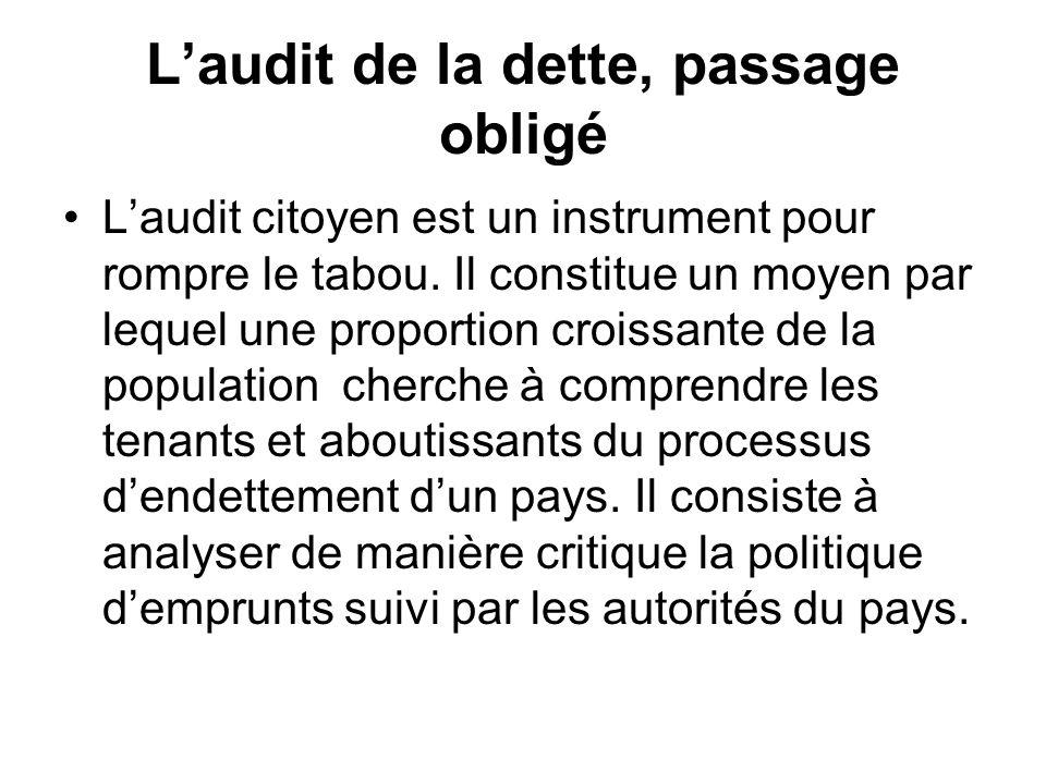 Laudit de la dette, passage obligé Laudit citoyen est un instrument pour rompre le tabou. Il constitue un moyen par lequel une proportion croissante d